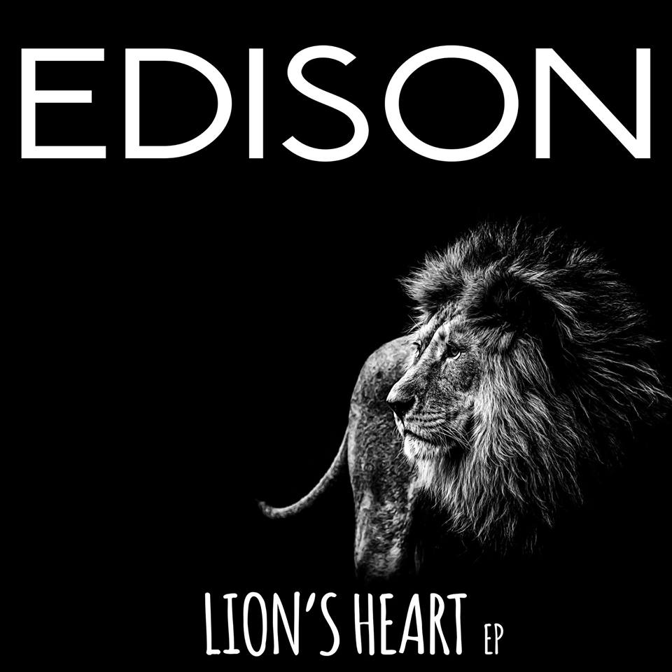 "Black background with a black and white lion's image and text that reads ""EDISON, LION'S HEART EP"""