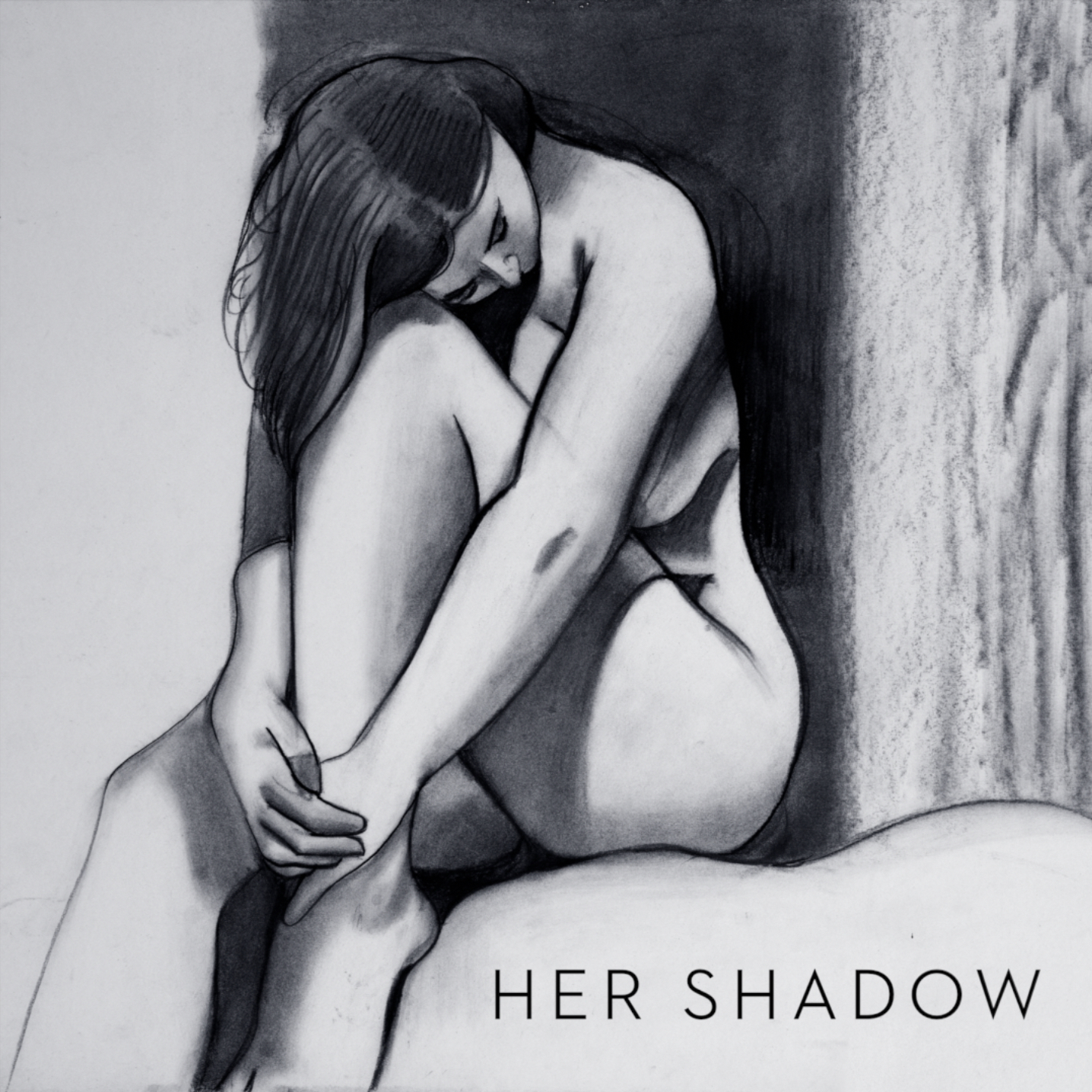 "Greyscale illustration cover art for single, ""Her Shadow,"" by Charles Van Kirk"