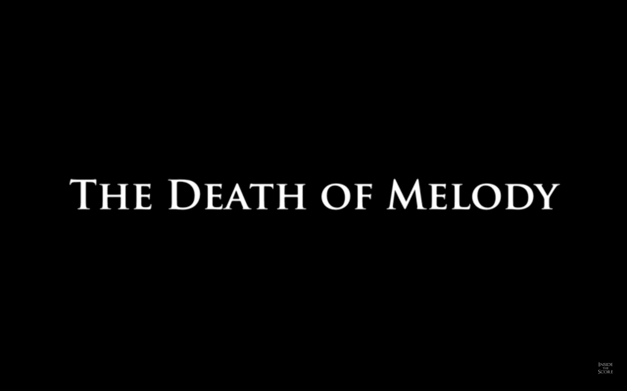"Black screen with text, ""The Death of Melody"""