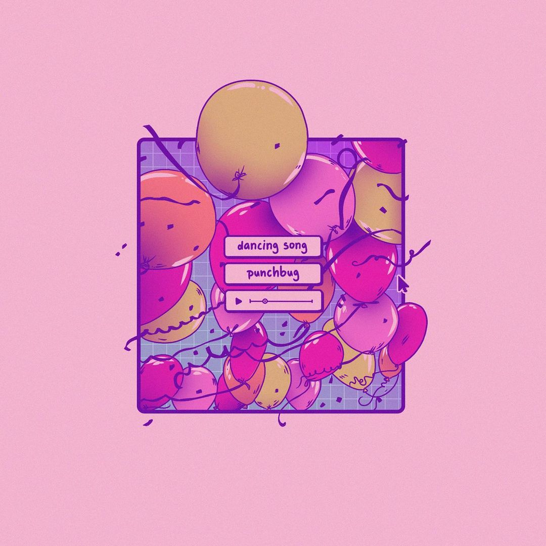 """Illustrative artwork; pink design with text that reads """"dancing song, punch bug"""""""