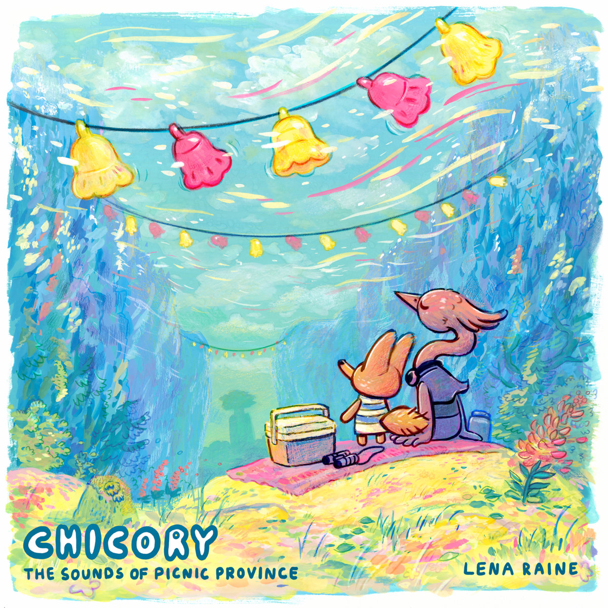 """Illustrative, drawing style, colored artwork for the cover of """"Chicory: The Sounds of Picnic Province"""""""