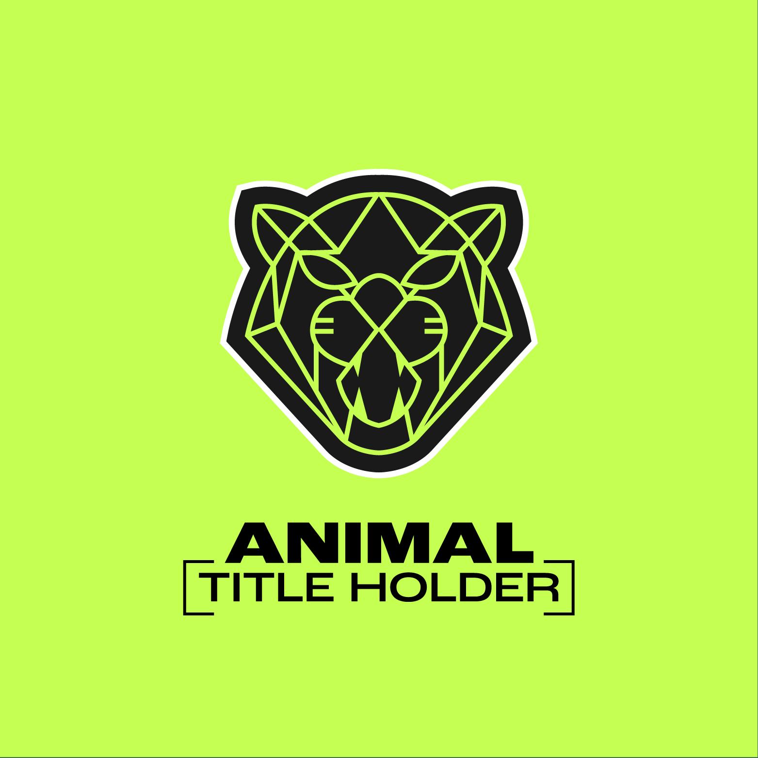 "Black logo on ne on solid lime green background; Black text below image reads ""Title holder, Animal"""
