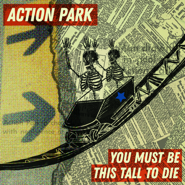 Abstract design depicting two skeletons riding in a rollercoaster car down a track. The background is an overlaid pattern of black typeface